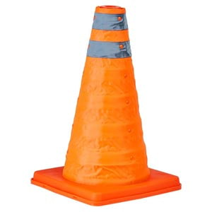 Collapsible Traffic Cone with LED Topper - 18' Tall