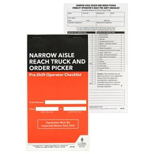 Narrow Aisle Reach Truck and Order Picker Pre-Shift Inspection Checklist