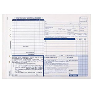Auto Repair Form, Snap-Out Format – Stock