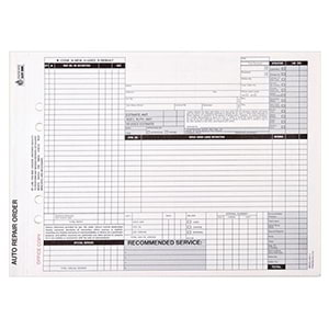 Auto Repair Order, Black Ink, Snap-Out Format – Stock