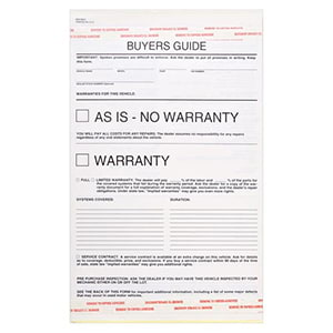 Buyers Guide Warranty Form, Carbonless - Snap-Out Format – Stock