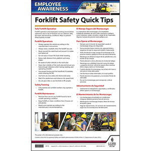 Forklift Safety Employee Awareness Quick Tips Poster