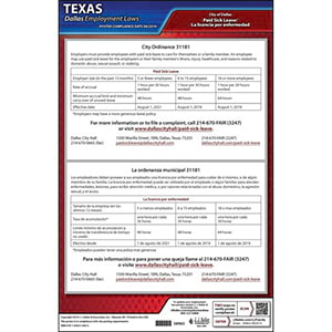 Texas / Dallas Paid Sick Leave Poster