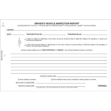Simplified Driver's Vehicle Inspection Report, 2-Ply, w/Carbon - Stock