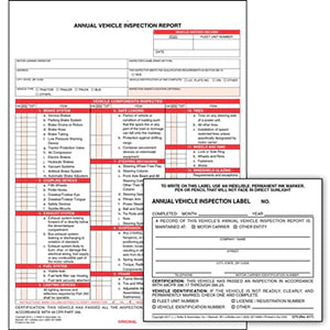 Annual Vehicle Inspection Report & Label Combo Pack
