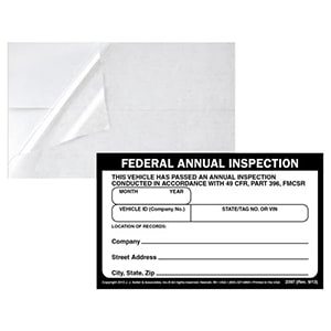 Record of Annual Inspection Decal & Clear Decal Overlay