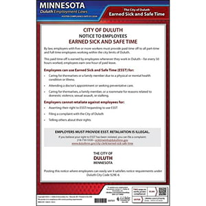 Minnesota / Duluth Earned Sick & Safe Time Act Poster