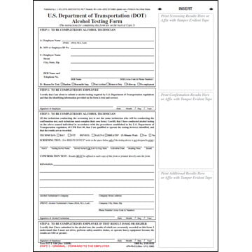 U.S. DOT Alcohol Testing Form w/ 1-Line Street Address