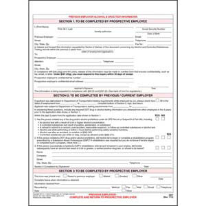 Previous Employer Alcohol & Drug Test Information - Snap-Out Format