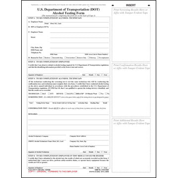 U.S. DOT Alcohol Testing Form w/ 2-Line Street Address