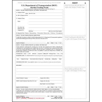 U.S. DOT Alcohol Testing Form w/ 2-Line Street Address