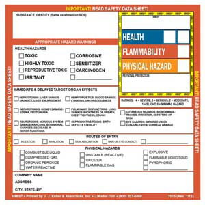 HMIS® III Hazard Summary Label