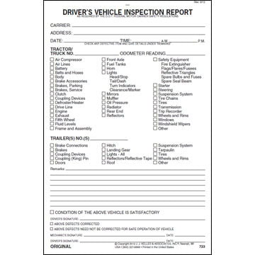 Detailed Driver's Vehicle Inspection Report, 3-Ply, w/Carbon, Black - Stock
