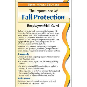 7-Minute Solutions for Construction - Fall Protection - Driver Skills Cards