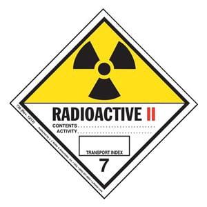 Hazardous Materials Labels - Class 7 -- Radioactive II - Paper