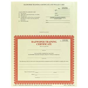 HAZWOPER Emergency Response Training for Employees - Combination Wallet Cards & Certificates