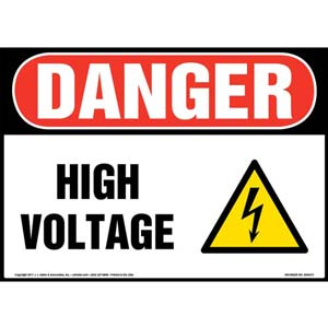 Danger: High Voltage - OSHA Electrical Sign