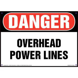 Danger: Overhead Power Lines - OSHA Sign