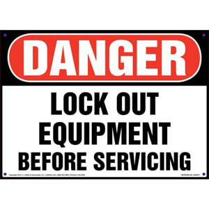 Danger: Lockout Equipment Before Servicing - OSHA Sign