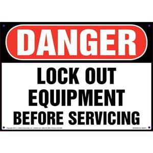 Danger: Lockout Equipment Before Servicing - OSHA Sign