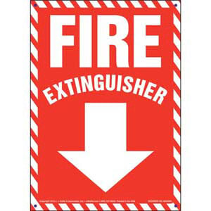 Fire Extinguisher Sign - Striped Border