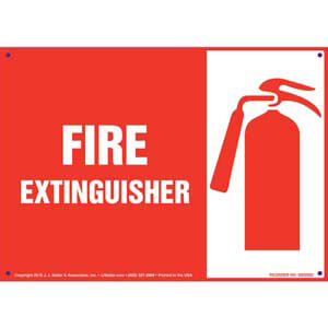 Fire Extinguisher Sign with Icon - Landscape