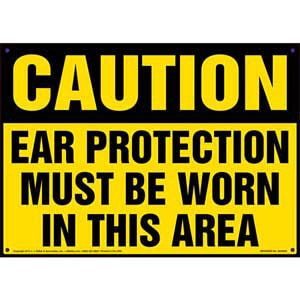 Caution: Ear Protection Must Be Worn In This Area - OSHA Sign