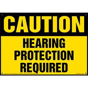 Caution: Hearing Protection Required - OSHA Sign