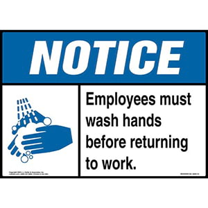 Notice: Employees Must Wash Hands - ANSI Sign