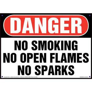 Danger: No Smoking, No Open Flames, No Sparks Sign - OSHA