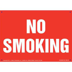 No Smoking Sign - White Text on Red