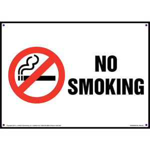 No Smoking Sign with Icon - Landscape