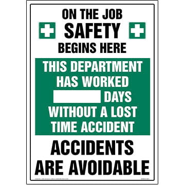 Department Has Worked X Days Without A Lost Time Accident Sign