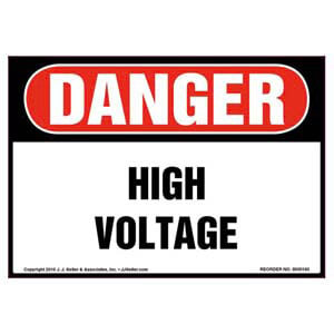 Danger: High Voltage - OSHA Label