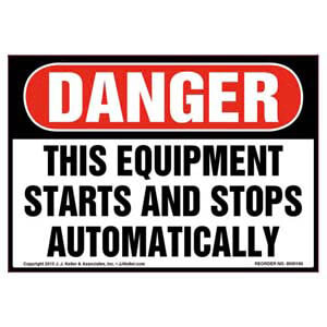 Danger: Equipment Starts & Stops Automatically Label - OSHA