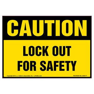Caution: Lockout For Safety - OSHA Label