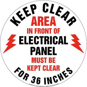 Keep Clear Area In Front Of Electrical Panel Sign