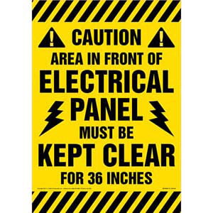 Caution: Keep Area In Front Of Electrical Panel Clear Floor Sign