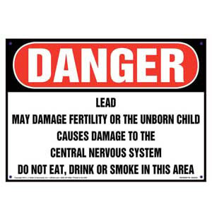 Danger: Lead, Do Not Eat, Drink or Smoke in Area Sign - OSHA