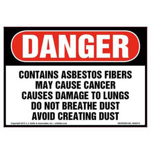 Danger: Contains Asbestos Fibers, Avoid Creating Dust Label - OSHA