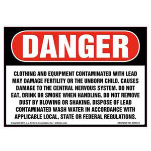 Danger: Clothing & Equipment Contaminated with Lead Label - OSHA
