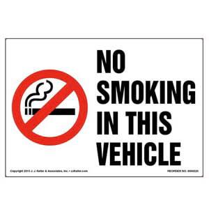 No Smoking In This Vehicle Label