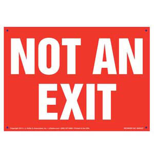 Not An Exit Sign - White Text on Red