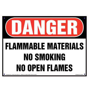 Danger: Flammable Materials, No Smoking/Open Flames Sign - OSHA