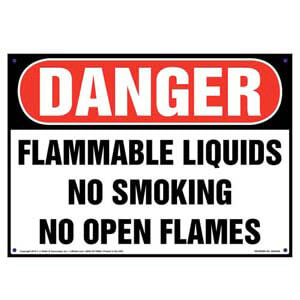 Danger: Flammable Liquids, No Smoking/Open Flames Sign - OSHA