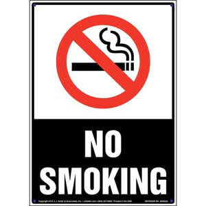 No Smoking Sign with Icon - Portrait, White Text on Black