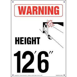 Warning: Vehicle Height 12' 6' Sign