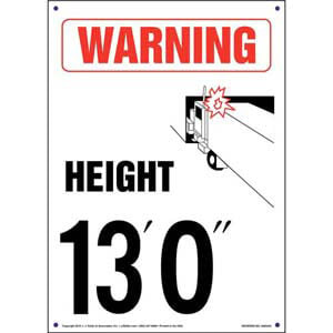 Warning: Vehicle Height 13' 0' Sign