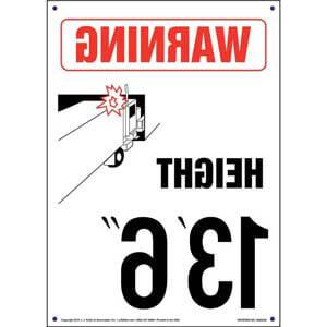 Warning: Vehicle Height 13' 6' Sign - Mirror Image