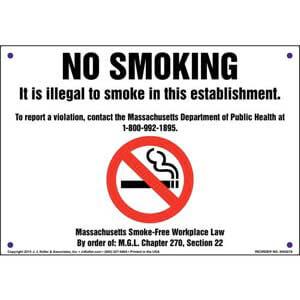 Massachusetts: No Smoking Sign
